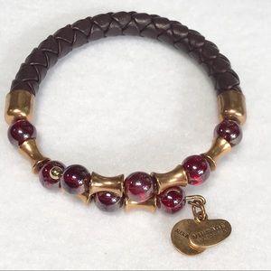 Alex & Ani Leather Wrap Bracelet w/Gold &Red Beads